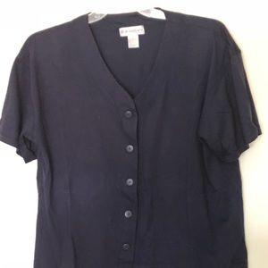 T shirt button down navy blue woman's top